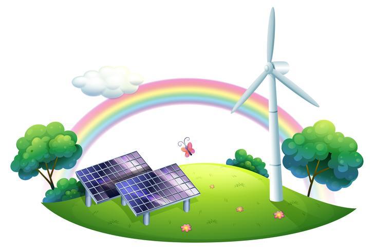 Eine Sonnenenergie und eine Windmühle vektor