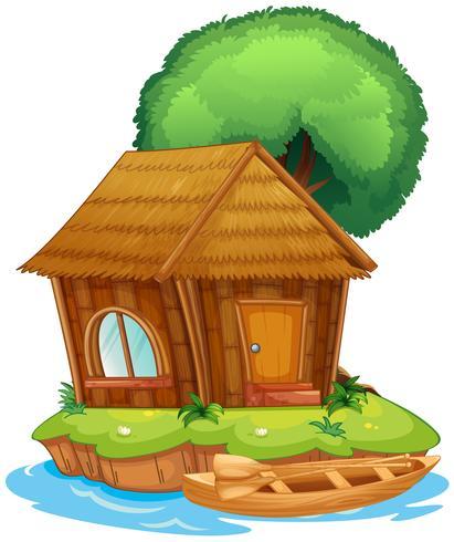 Ett hus på en ö vektor