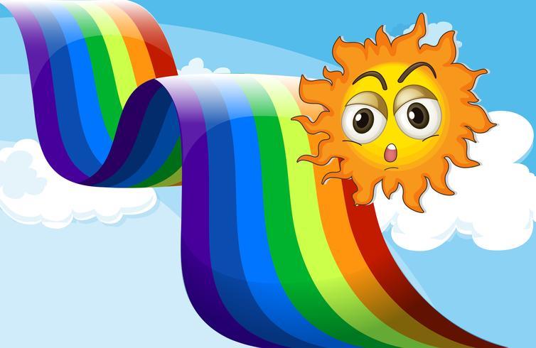 En regnbåge bredvid solen vektor