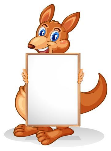 Ein Känguru, der ein leeres Whiteboard hält vektor
