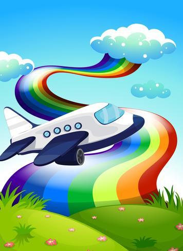 Ein Düsenflugzeug in der Nähe des Gipfels mit einem Regenbogen vektor