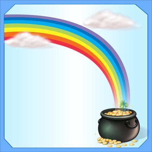 En regnbåge och myntkruven vektor