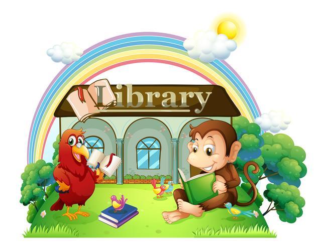 Ein Affe und ein Papagei lesen vor der Bibliothek vektor