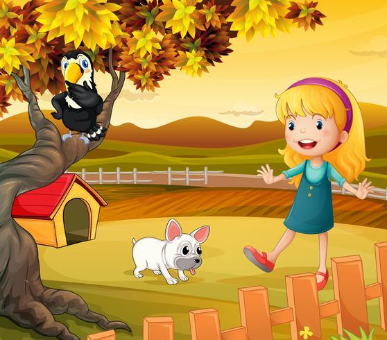 En tjej med en hund och en fågel vektor