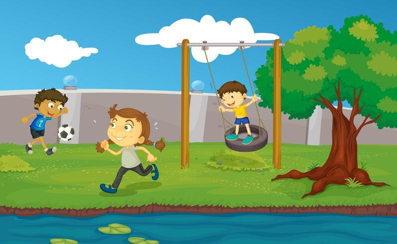 Barn i parken vektor