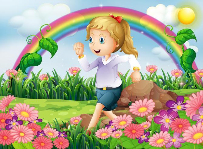 Ein Mädchen läuft in den Garten vektor