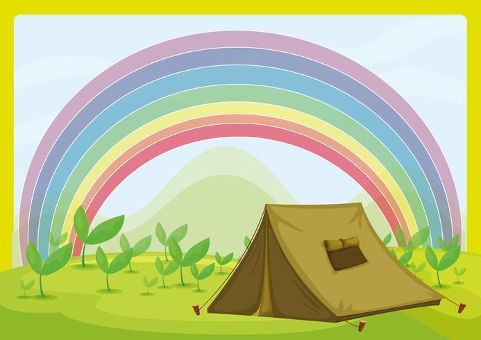 Ett tält och en regnbåge vektor