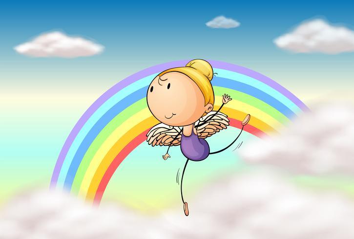 En ängel i regnbågen vektor