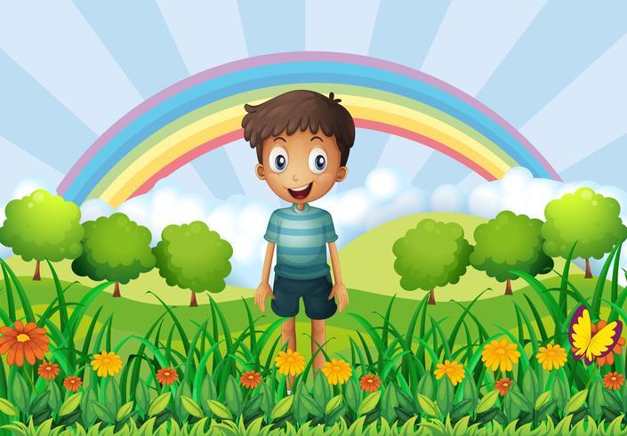 En pojke i fälten vektor