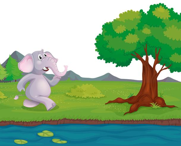 En elefant vid flodbredden vektor