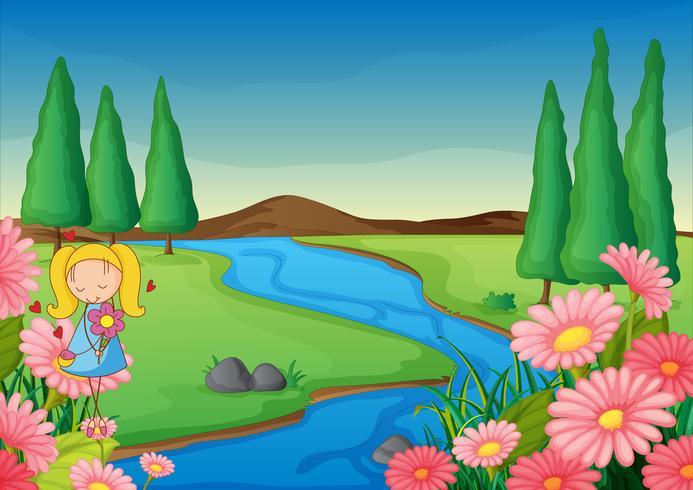 ein Fluss und ein Mädchen vektor
