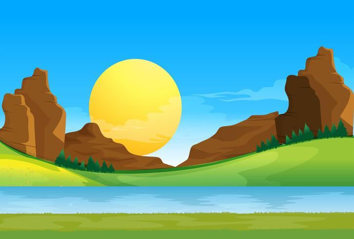 Eine Ansicht des Flusses unter dem blauen Himmel mit einer Sonne vektor
