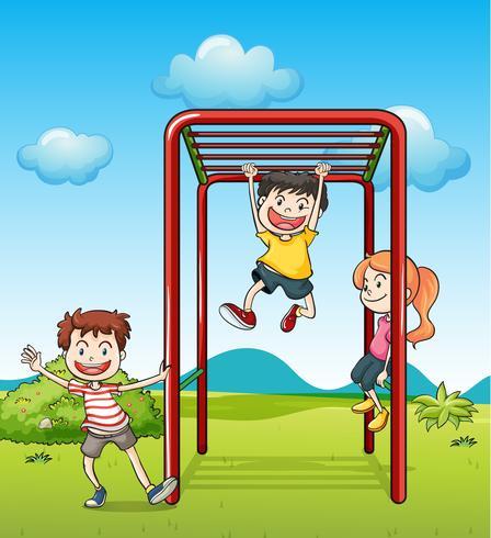 Barn som spelar monkeybar vektor