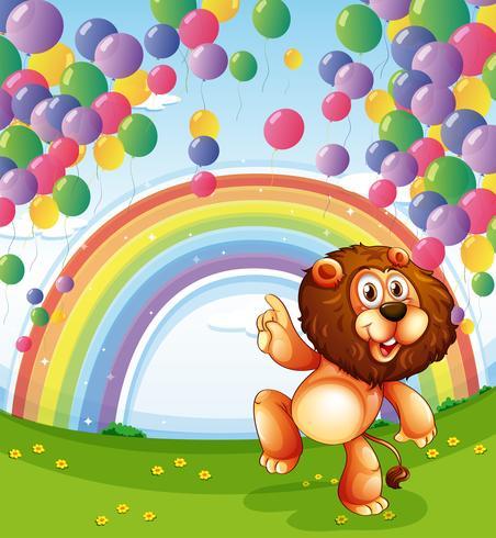 Ett lejon under de flytande ballongerna med en regnbåge vektor