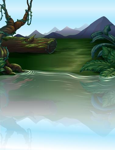 En flod i skogen vektor