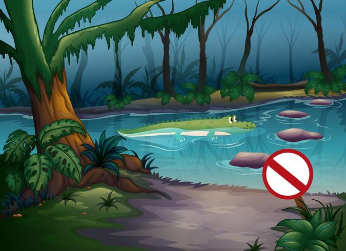 En krokodil i djungeln vektor