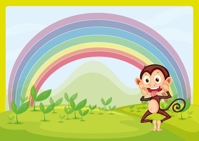 Affe und Regenbogen vektor
