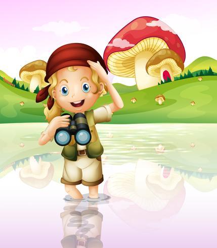 En tjej vid sjön med sitt teleskop vektor