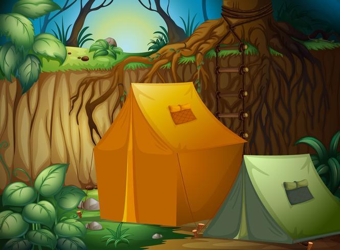 Ett tältläger i skogen vektor
