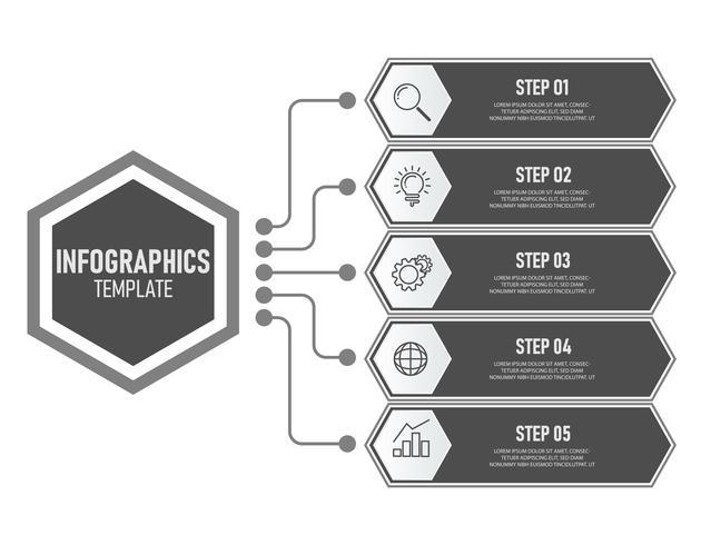 Geschäftsinfografiken Vorlage mit grauer Farbe vektor