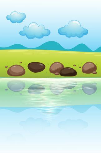 Stenar nära floden vektor