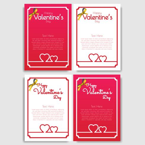 Happy Valentines Day Set von 4 Grußkarten-Design vektor