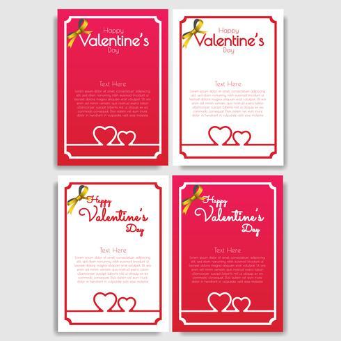 Lycklig Alla hjärtans dag uppsättning av 4 hälsningskortdesign vektor