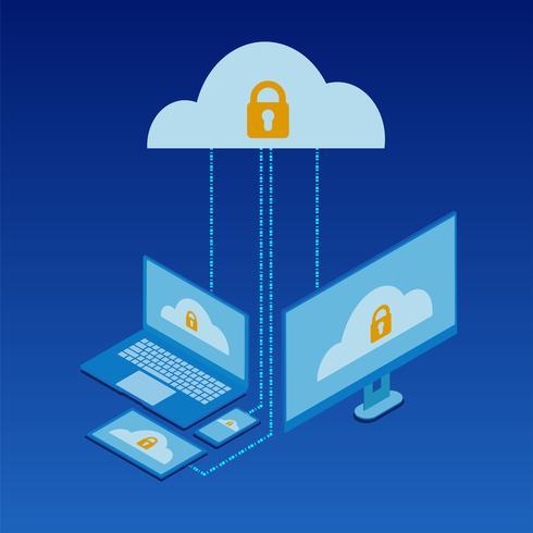 Cloud-Dienste Isometrische Konzeption vektor