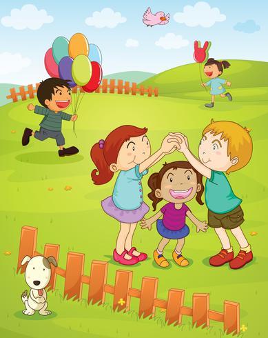 Barn leker i parken vektor