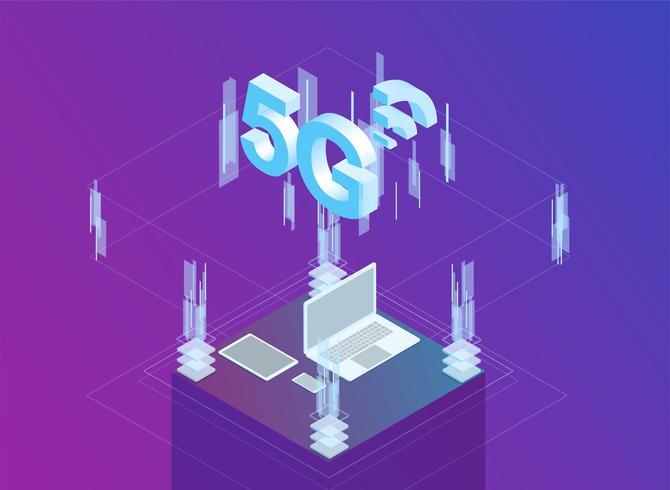 Internet des isometrischen flachen Designs der Sachen 3d vektor
