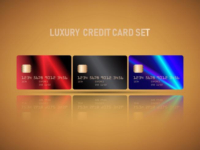 Vektor av realistiska kreditkort set