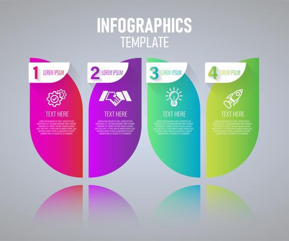 Färgrik Infographics malldesign, abstrakta delar av diagram med steg. vektor