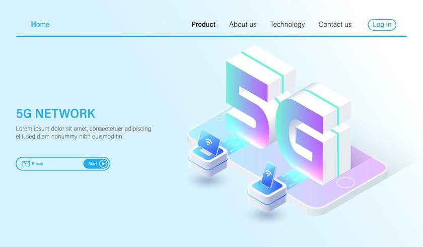 Isometrische drahtlose Systeme des Mobilfunknetzes 5G und Internet-Vektorillustration. Kommunikationsnetz-Konzept vektor