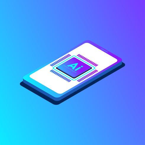 Konstgjord intelligens CPU på smartphone koncept design, Ai nästa teknik. Vektor illustration