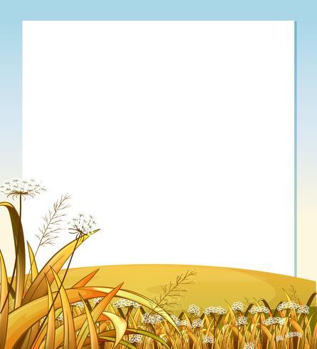 Eine leere Vorlage mit einem Hügel mit Pflanzen vektor