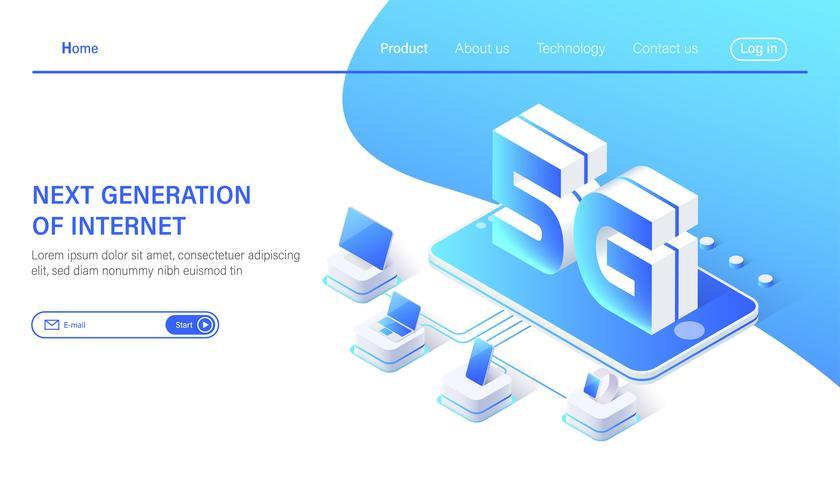 Isometrische drahtlose Systeme des Mobilfunknetzes 5G und Internet-Vektorillustration. vektor