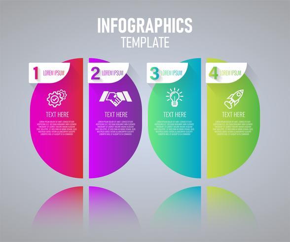 Buntes Infographics-Schablonendesign, abstrakte Elemente von Grah mit Schritten. Vektor-Illustration. vektor