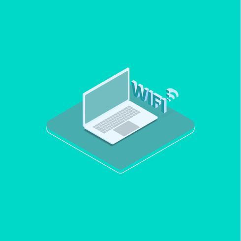 Laptop mit WLAN verbunden vektor