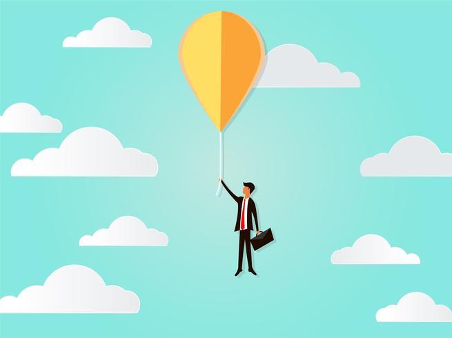 Fliegengeschäftsmann-Vektorkonzept mit Ballon, Inspiration, Fantasie, Innovation, kreative Idee zum Erfolg des Geschäfts. vektor
