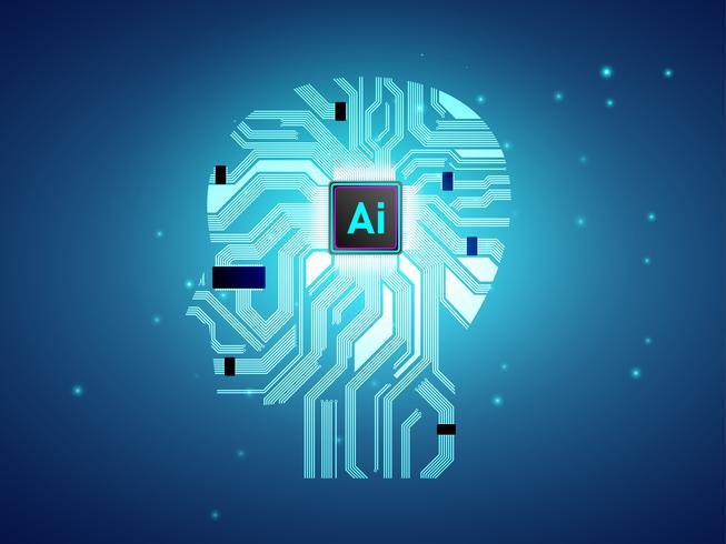 Artificial Intelligence CPU med hjärnans koncept, Ai computing med kretskort, maskininlärning vektor