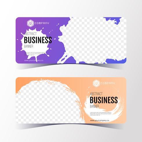 Bunte abstrakte Geschäftsfahnenschablone, horizontaler Fahnenkartensatz. vektor