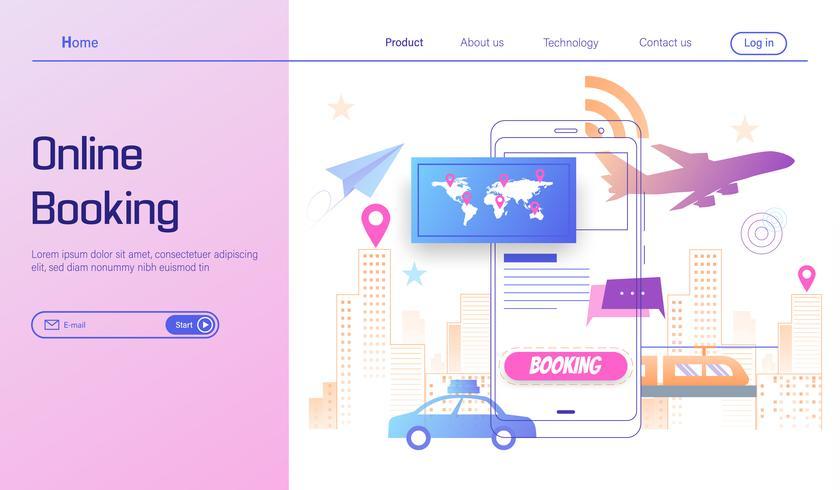 Gå resa genom online bokning på smartphone koncept, sommarlov vektor