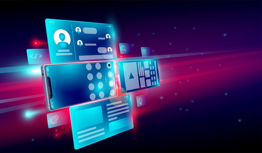 Erstellung mobiler Anwendungen, Webentwicklung, Test, Release-Symbol und Benutzeroberfläche für das 3D-Smartphone-Konzept. Vektor