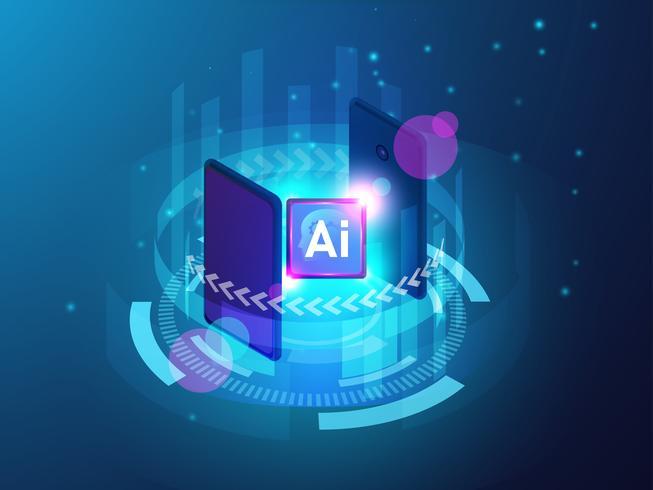 Artificial Intelligence CPU-koncept med smartphone, Ai-dator med kretskort, maskininlärning vektor