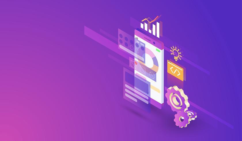 Modernes isometrisches Design des mobilen Anwendungsentwicklungsprozesses, bewegliche APP und Schnittstellengestaltungsvektor. vektor