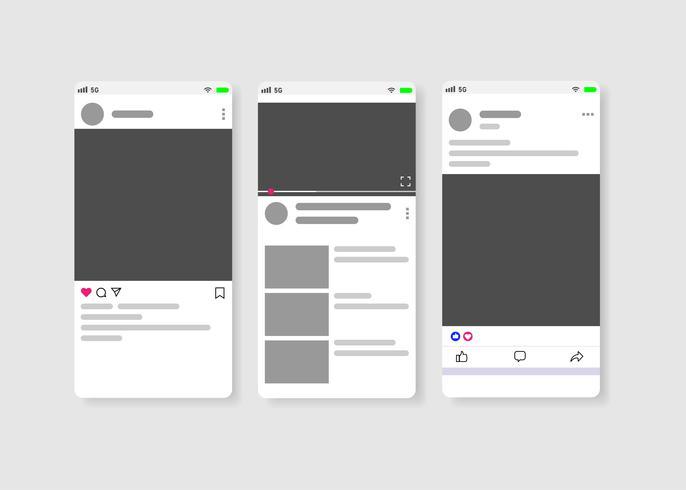 Moderna sociala medier ny mat, post och hemsida mockup på vit bakgrund Vector. vektor