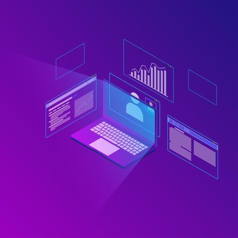 Isometrisk av affärsanalyssystem vektor