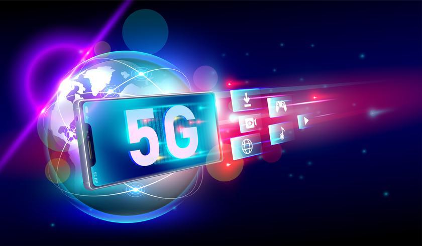 Vorwärts bewegen heller Aufflackernbewegungsunschärfehintergrund mit Smartphone auf drahtloser Verbindung des Hochgeschwindigkeitsnetzes 5G auf der ganzen Welt und Internet von Sachen, Kommunikationsnetz-Konzept Vektor