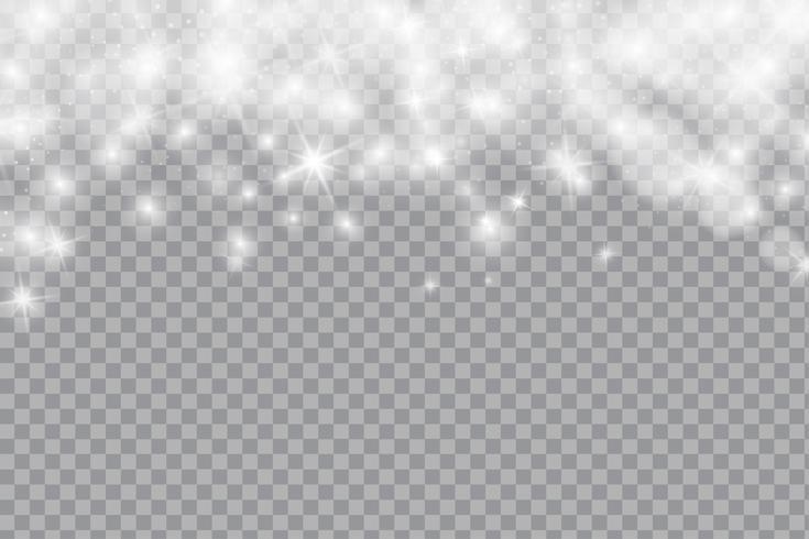 Fallender glänzender Schnee oder Schneeflocken, bokeh Licht und Funkeln auf transparentem Hintergrund. Vektor