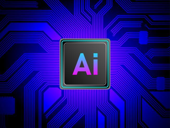 CPU-Prozessorkonzept der künstlichen Intelligenz, AI, das mit Leiterplatte, maschinelles Lernen rechnet vektor